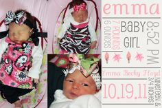 baby girl birth announcement.  mommy provided the pictures and i put this together for her.  it is cropped to 4x6, which is cheap to print.