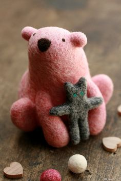 Pink polar bear & his softie {needle felted} by ola smith, via Flickr