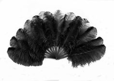 Black single layer Ostrich Feather Fan Full open 180 degree with Travel leather Bag