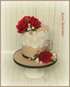 Red Roses double barrel cake - Cake by Karen Dodenbier