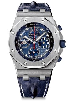 """The Audemars Piguet Royal Oak Offshore Perpetual Calendar Chronograph, a limited edition of 10 pieces, has a platinum case and a """"grande tapisserie"""" pattern on the dial."""
