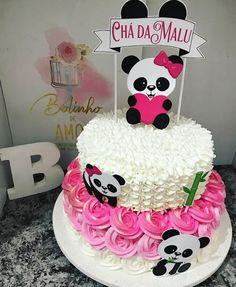 1 layer will do. Panda Themed Party, Panda Party, Panda Birthday Cake, Birthday Cake Girls, Baby Shower Cakes, Bolo Neked Cake, Bolo Panda, Panda Baby Showers, Panda Decorations