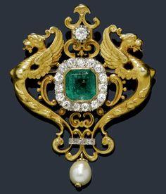 1900 Emerald and Diamond Brooch