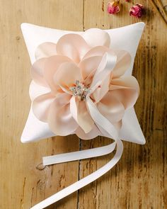 Peach wedding ring pillow satin flower ring bearer by louloudimeli