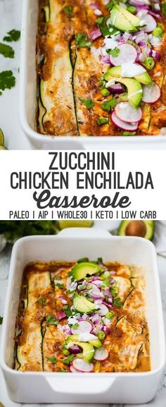 Zucchini Chicken Enchilada Casserole (Paleo, AIP, Low Carb) This zucchini chicken enchilada casserole has all of the enchilada flavors without the grains or dairy! It's easily made in one dish and is paleo, keto, and AIP with modifications. Mexican Food Recipes, Whole Food Recipes, Diet Recipes, Healthy Recipes, Paleo Casserole Recipes, Paleo Food, Whole30 Recipes Chicken, Whole 30 Chicken Recipes, Paleo Pasta