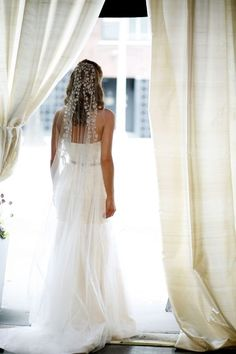 long embellished wedding veil  Love! Aunt S could so make this!