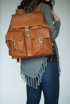 Large Flap Leather Backpack | Calvin Mitchell Co.