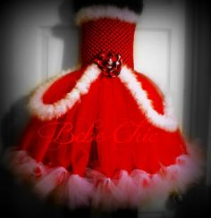 christmas tutu dress red and white with marabou by BebeChicCanada, $45.99