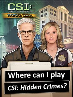 """♦ HOW CAN I GET """"CSI: HIDDEN CRIMES""""? ♦ Visit www.csihiddencrimes.com for more information or to download it from your appstore! Click on https://www.facebook.com/games/csihiddencrimes/?fbs=106 to play on Facebook!"""