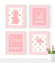 Pink flamingo nursery, Pink and gold nursery, Nursery Quad, set of 4 8X10, Choose your colors by ChicWallArt on Etsy https://www.etsy.com/listing/270838739/pink-flamingo-nursery-pink-and-gold