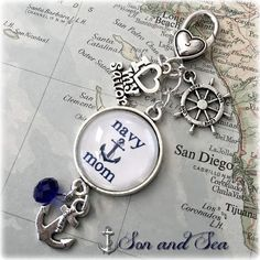 US Navy mom charm key or purse clip by Son and Sea free US shipping
