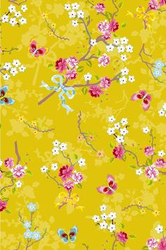 PiP Chinese Rose Yellow wallpaper.  Potential lampshade covering.
