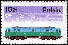 Stamp: Electric locomotive No. 1969 (Poland) (Railway Rolling Stock Co. Old Stamps, Electric Locomotive, Rolling Stock, Trains, Postage Stamps, Transportation, Envelopes, Postcards, Polish
