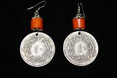 Dark Orange Bead Coin Earrings  $ 65.00