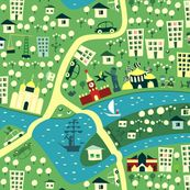 cartoon map of moscow fabric