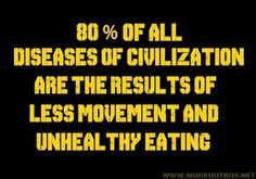 80% of all diseases in the world are the result of poor exercise and nutritional habits.