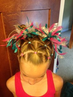 Kenzie's hair for her gymnastics meet.