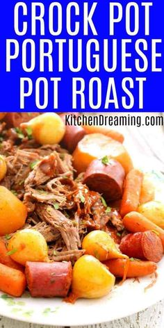 This Crock Pot Portuguese Pot Roast is a quick and flavorful weeknight meal. The broth is fragrant and flavorful with a depth of flavor from red wine and a touch of spiciness from the red pepper flakes. The potatoes and carrots are tender and the meat is Pot Roast Recipes, Slow Cooker Recipes, Low Carb Recipes, Crockpot Recipes, Dinner Recipes, Cooking Recipes, Carne Asada, Portuguese Recipes, Beef Recipes