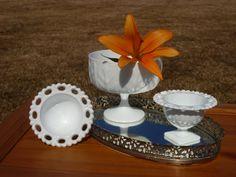 Vintage Milk Glass vases / set of 3 by DesignBonBons on Etsy, $19.50
