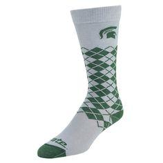 Mojo, Men's  Michigan State Spartans Argyle Socks, Green