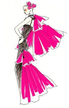 Fashion Designer's sketches Yves Saint Laurent Mode Vintage Illustration, Fashion Illustration Sketches, Fashion Design Sketches, Illustration Art, Fashion Drawings, Fashion Designers, Yves Saint Laurent, Fashion Plates, Fashion Art