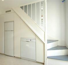 [ Designs Latest Modern Homes Under Stairs Cabinets Ideas London ] - Best Free Home Design Idea & Inspiration Kitchen Under Stairs, Space Under Stairs, Stairs In Small Spaces, Basement Kitchen, Kitchen Storage, Storage Spaces, Kitchen Pantry, Storage Ideas, Fridge Storage