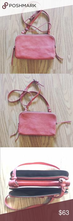 Pastel Burned Red 100% Leather Cross Body Bag Never used. No sign of wear ❤ Vintage Bags Crossbody Bags