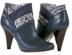 Ruby Shoo Cher Navy Blue Paisley High Heel Ankle Boots