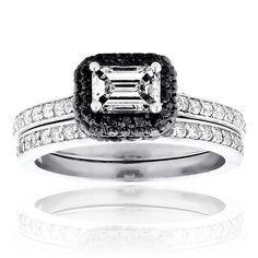 Engagement Ring Set: 14K Gold White and Black Diamond Emerald Cut
