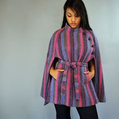 Vintage 60s WOOL CAPE coat  Asymmetrical by rockstreetvintage, $146.00