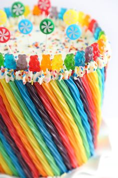 Rainbow Candy Cake. Those Twizzlers taste nasty but they sure make an adorable cake!