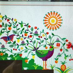 #fruit #bird #wall #painting #design by Suzanne Carpenter @illustrator_eye