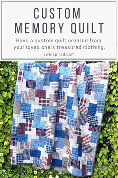I understand how personal a memory quilt is, so I take great care in constructing a one of a kind piece that honors the treasured clothing you've entrusted to me. Beginner Quilt Patterns, Quilting For Beginners, Quilting Tutorials, Sewing For Beginners, Quilting Patterns, Quilting Ideas, Plaid Quilt, Machine Quilting Designs, Easy Quilts