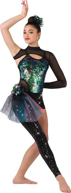 """Multi-Colored Sequined Bodice and Matching Side Bustle with Mesh Shrug and One Sequined Leg - """"Mystique"""""""