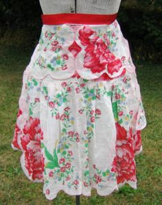 vintage handkerchiefs made into an apron