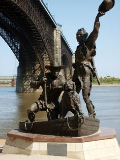 St Louis, Missouri, celebrates its 250th birthday in 2014. On the banks of the Mississippi, n the shadow of Ede's Bridge, is this statue to the explorers Lewis & Clarke, depicting their arrival back at St Louis after their journey to the interior.