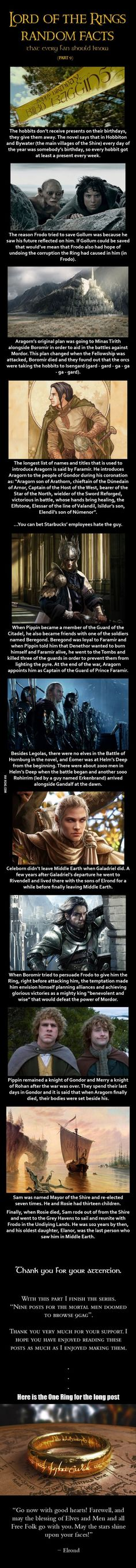 Here are some Lord of the Rings random facts (Part 9):