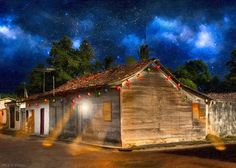 "Rustic Beauty of Costa Rica At Night Christmas Greeting Card for sale by Mark E Tisdale.  Our premium-stock greeting cards are 5"" x 7"" in size and can be personalized with a custom message on the inside of the card.  All cards are available for worldwide shipping and include a money-back guarantee."