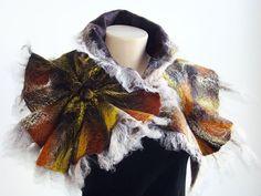 Felted Wool Scarf Neckpiece Collar. Felted Wrap scarf. Chunky scarf Shibori Multicolor Brown