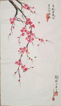 Fleurs de pruniers  Sur papier de riz non absorbant  80cm (L) sur 60cm (H)   (Gong-Bi & Fleurs)