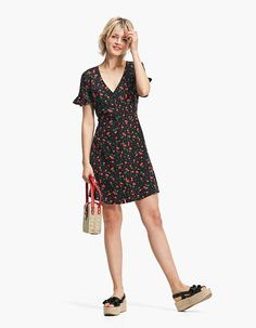 Short printed dress with lined buttons - null | Stradivarius Malta