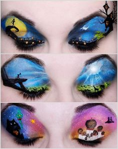 """Disney inspired eye makeup....""""The Nightmare before Christmas"""", """"The Lion King"""", and """"Aladin"""""""