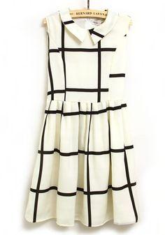 Black Plaid Lapel Sleeveless Above Knee Chiffon Dress