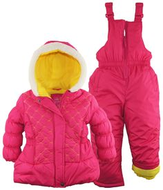 Pink Platinum Little Girls Snowboard Puffer Jacket and Snowpants Snowsuit Set