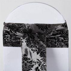 x Dual-Tone Edition Flocking Chair Sash - Silver / Black Wedding Chair Sashes, Wedding Chairs, Damask Decor, Silver Wedding Decorations, Black Tablecloth, Chair Ties, Stylish Chairs, Black Flowers, Art Deco Wedding