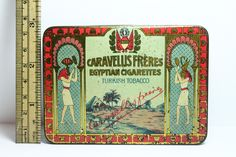 Stunning Caravellis Freres Royal 1920's Egyptian Cigarettes Tobacco Tin - Cairo | eBay