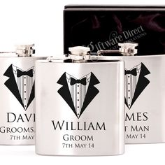 Silver Hip Flask Gift Set Engraved Stainless Wedding Groomsman Best man present From Personalised Hip Flask, Personalized Wedding, Burlap Lace, Presents For Men, Beautiful Gifts, Online Gifts, Groomsman Gifts, Groomsmen, Gifts For Friends