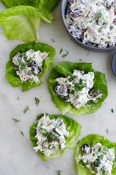 Easy and healthy rotisserie chicken salad, made with fresh herbs, grapes, and Greek yogurt/mayo dressing, served on crunchy butter lettuce. Lettuce Recipes, Veggie Snacks, Healthy Vegetable Recipes, Chicken Salad Recipes, Vegetable Salad, Herb Recipes, Game Recipes, Vegetable Dishes, Lunch Recipes