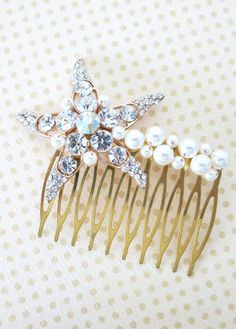 Rose Gold Wedding Starfish Hair Comb, Accessories, Rose Gold Bridal Hair Comb, Pink Gold, Crystal, Beach Nautical Hair Comb - Starfish, by ColorMeMissy, www.colormemissy.com