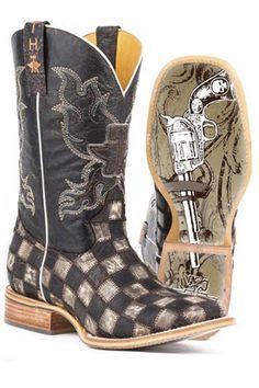 Tin Haul Gun Metal Check Men s Cowboy Boots 71eb6382ccc4